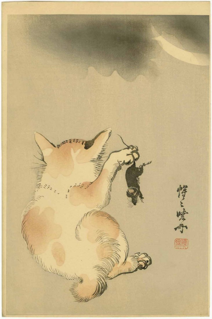 Kyosai Kawanabe Woodblock Cat with a Mouse