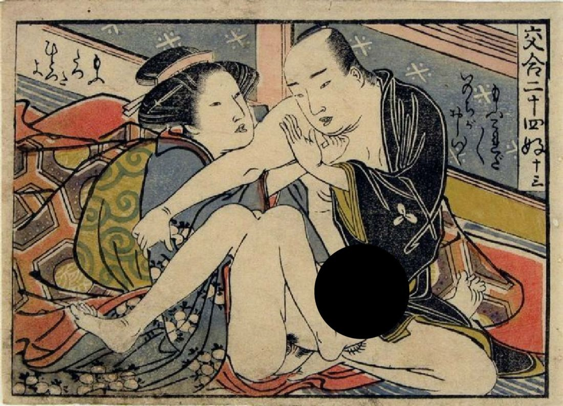 Shuncho, Katsukawa Woodblock Couple in an Interior