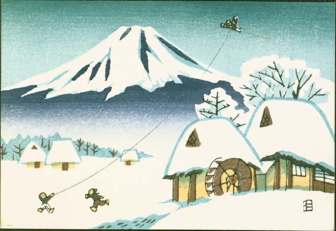 Ito Nisaburo 4 Woodblocks Temples & Fuji - 3