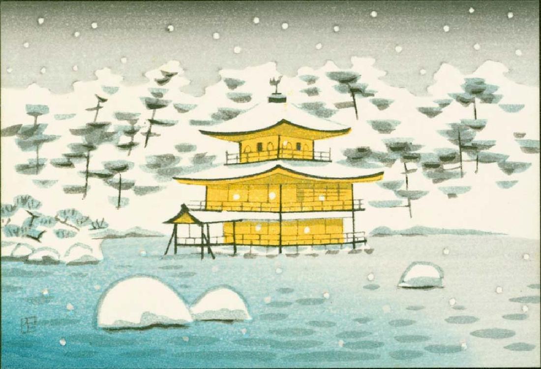 Ito Nisaburo 4 Woodblocks Temples & Fuji - 4