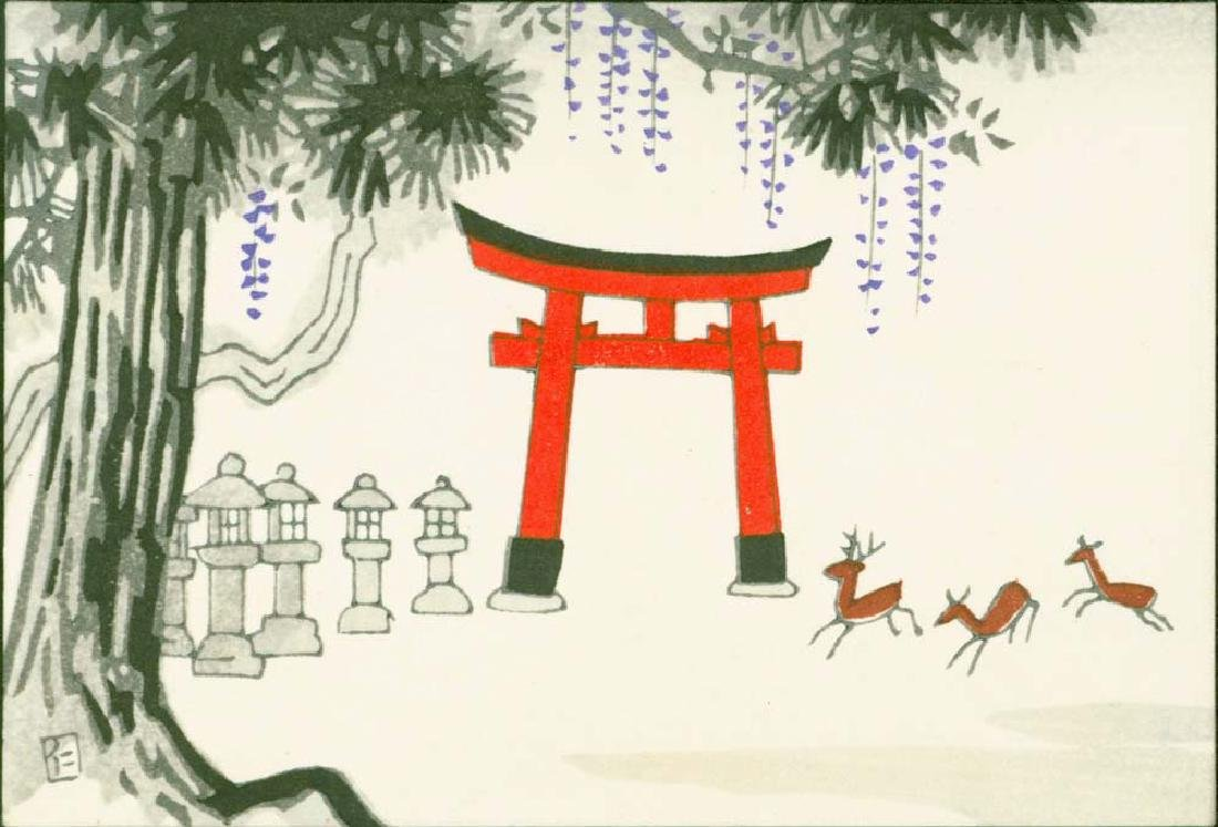 Ito Nisaburo 4 Woodblocks Temples & Fuji - 5