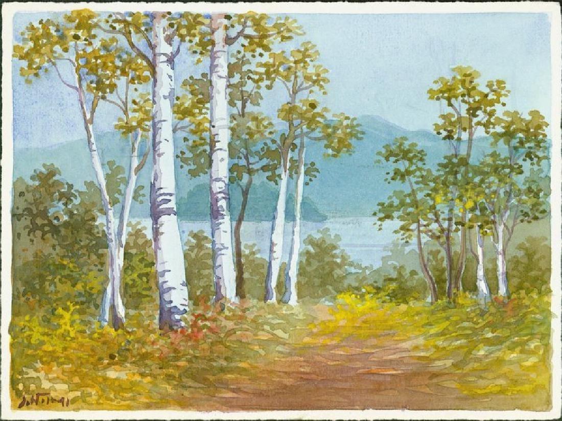 S. Niimi Woodblock Birch Path
