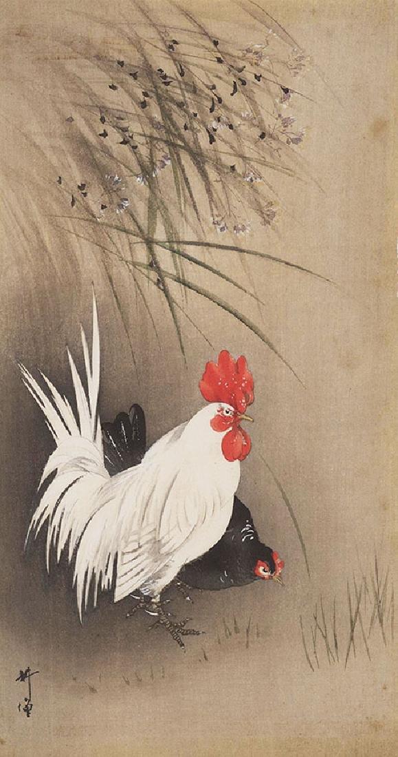 Tsukioka Kogyo Woodblock Rooster and Hen