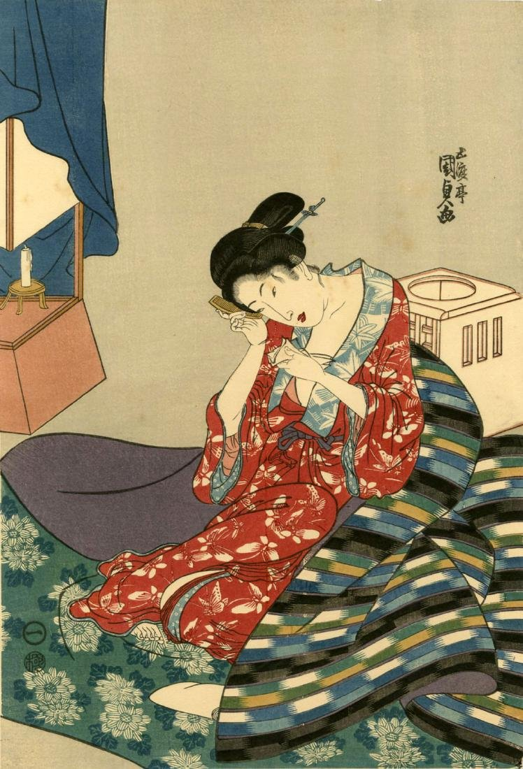 Kunisada Utagawa Woodblock Preparing for Bed