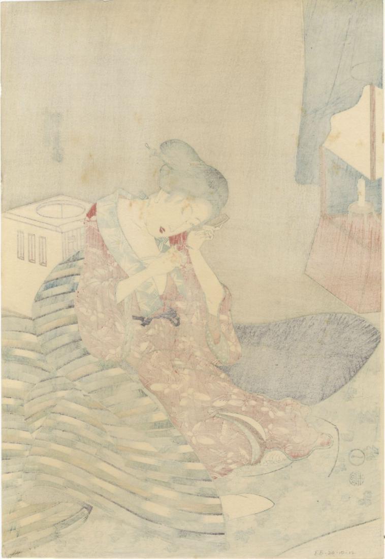 Kunisada Utagawa Woodblock Preparing for Bed - 2