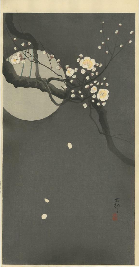 Ohara Koson Woodblock Flowering Plum and Full Moon
