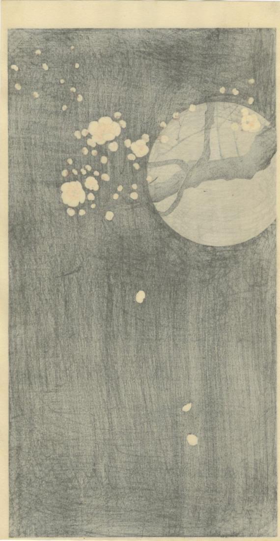 Ohara Koson Woodblock Flowering Plum and Full Moon - 2