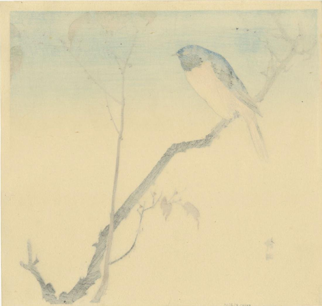 Seiko Okuhara Woodblock Bluebird Perched on a Branch - 2