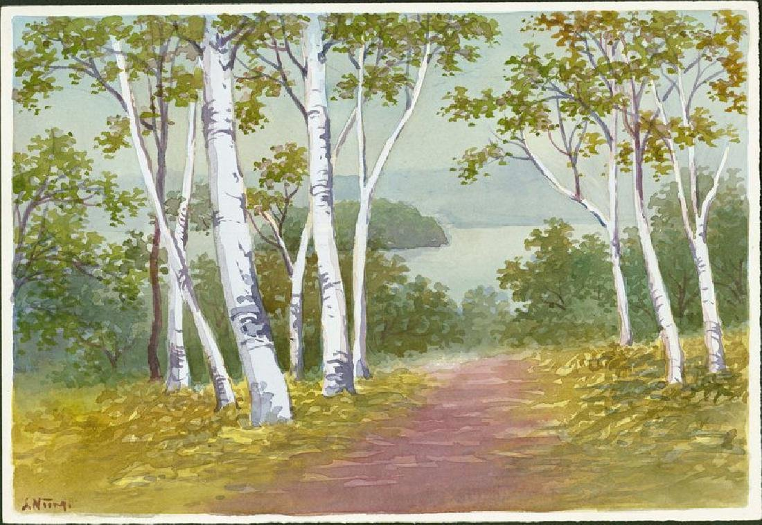 S. Niimi Woodblock Path Through Birch Trees