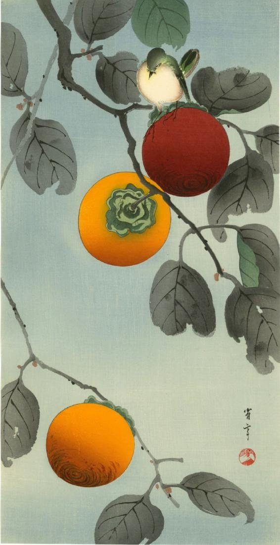 Seitei Watanabe Woodblock Bird on a Persimmon Tree