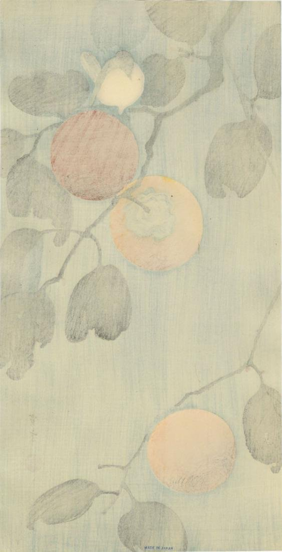 Seitei Watanabe Woodblock Bird on a Persimmon Tree - 2