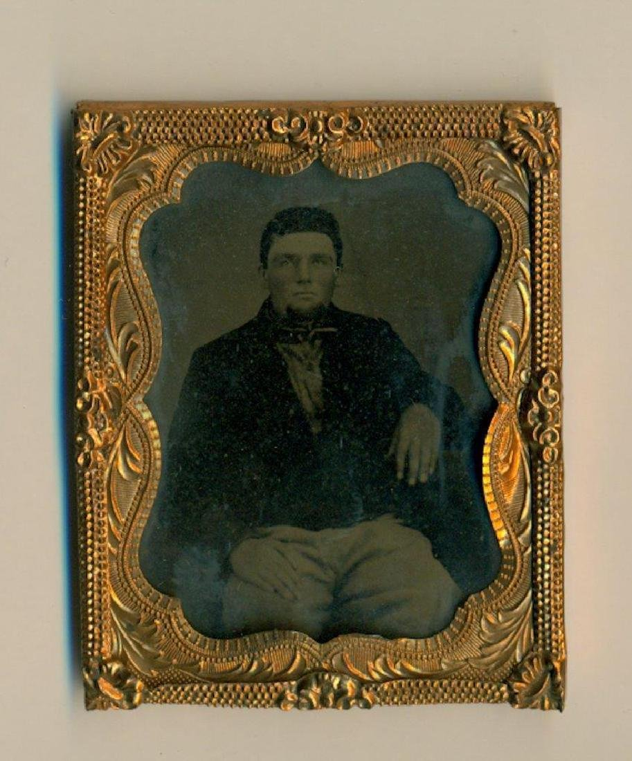 1860s 9th Plate Tintype Civil War Soldier in a Battle