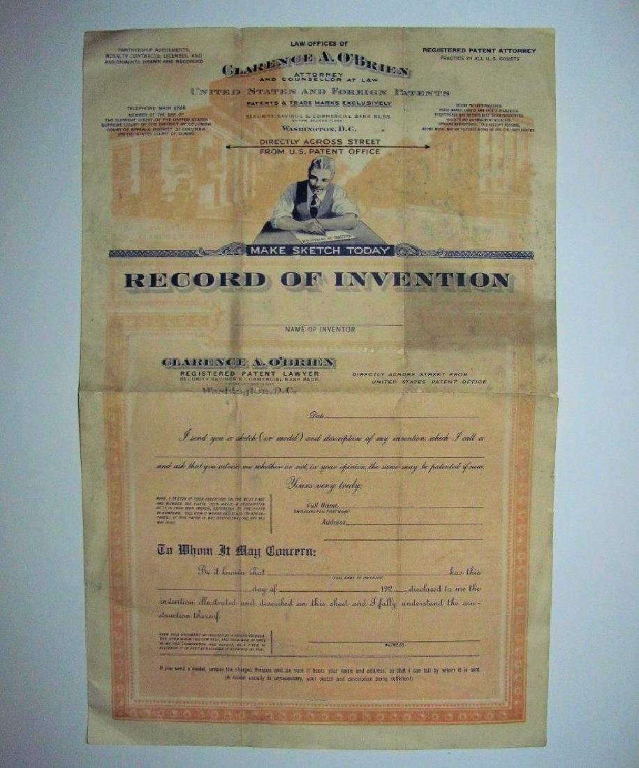 1920 U.s. PAtent Lawyer Clarence O'brien Invention
