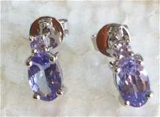 14 ct white gold oval tanzanite earrings