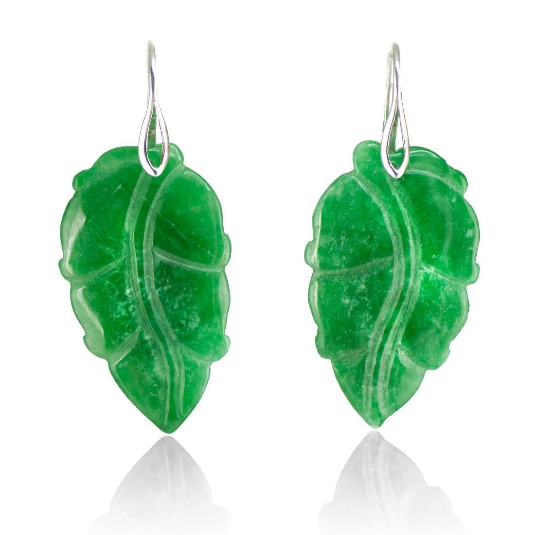 Carved Leaf Emerald Green Jade Earrings