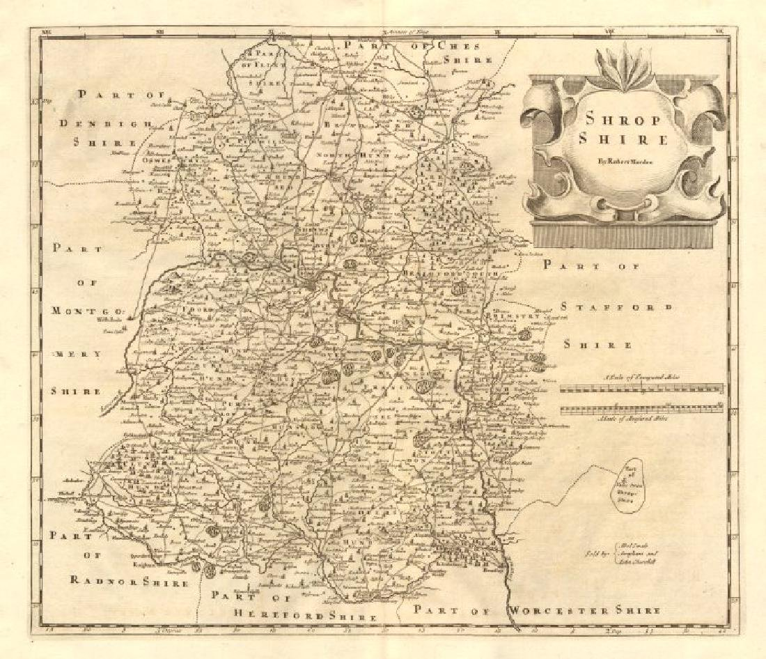 Morden: Antique Map of Shropshire, 1772