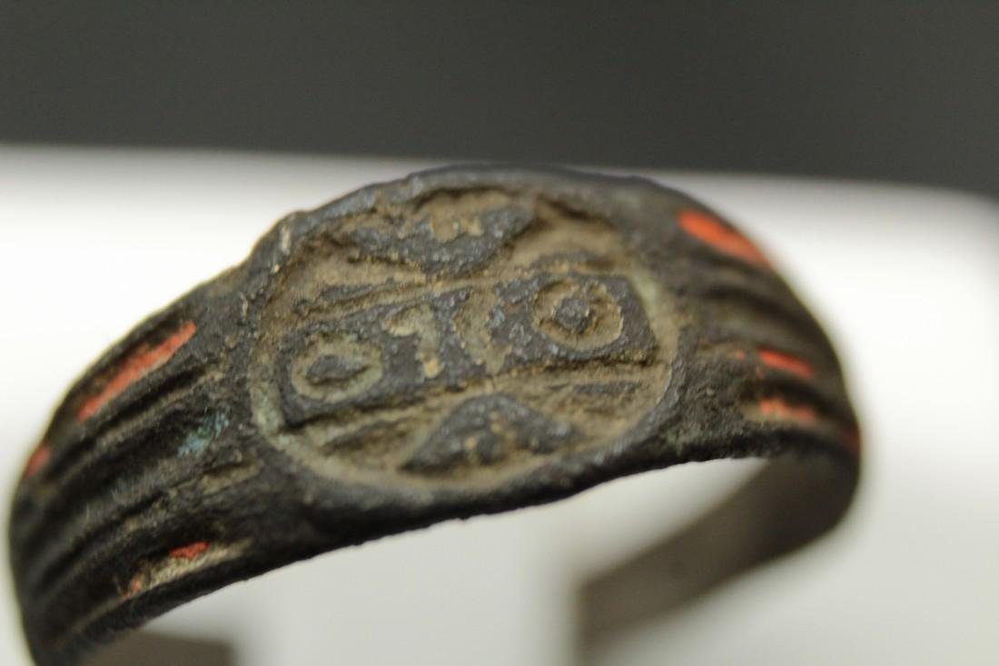 Medieval Bronze Ring With Letters and Enamel