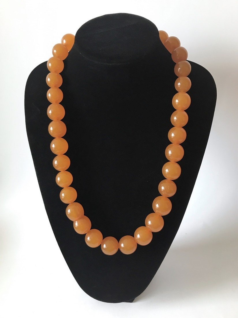 Old large art deco Baltic amber necklace beads