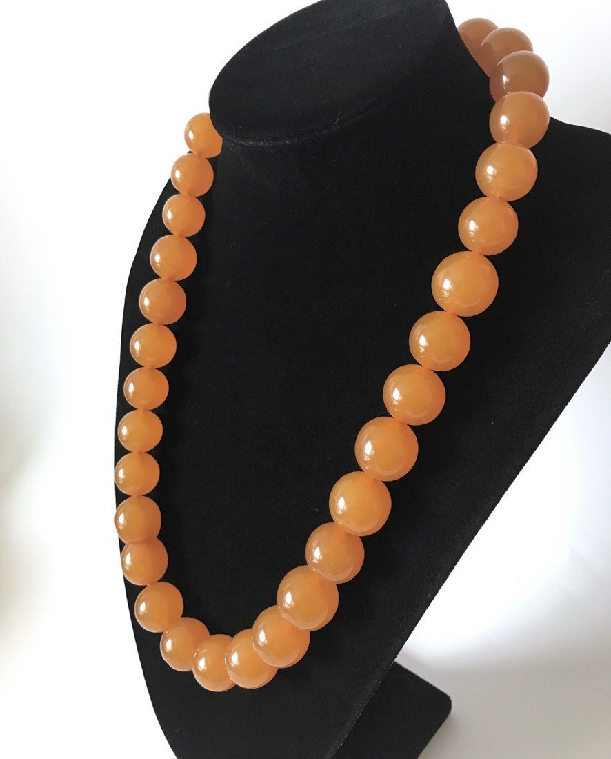 Old large art deco Baltic amber necklace beads - 2