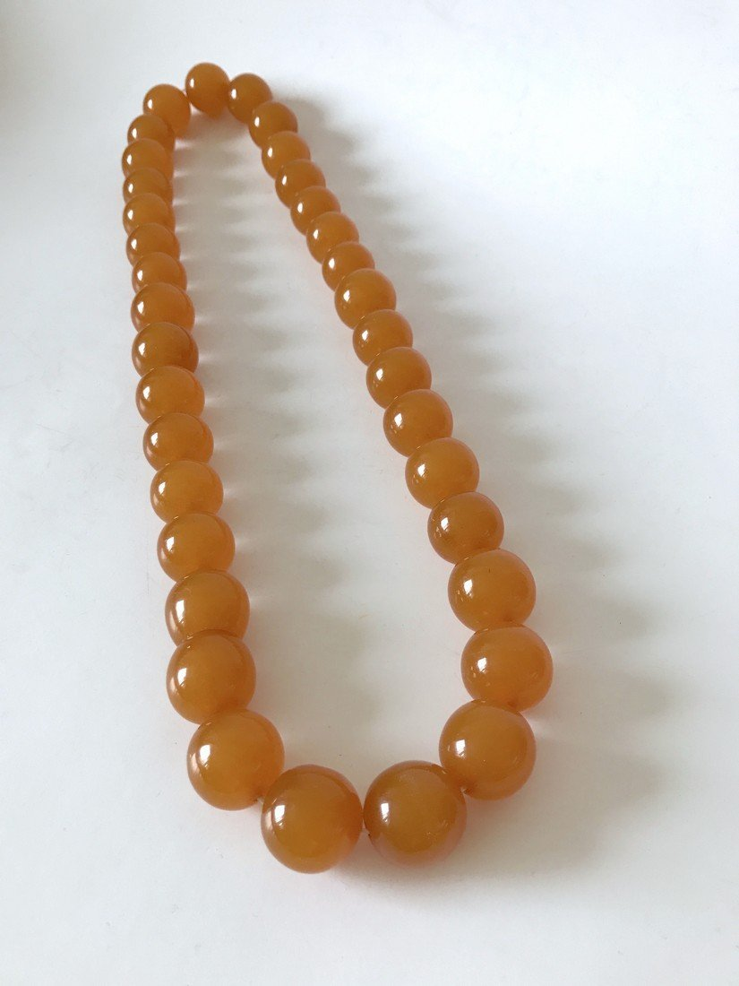Old large art deco Baltic amber necklace beads - 3