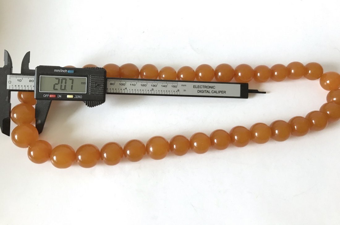 Old large art deco Baltic amber necklace beads - 4