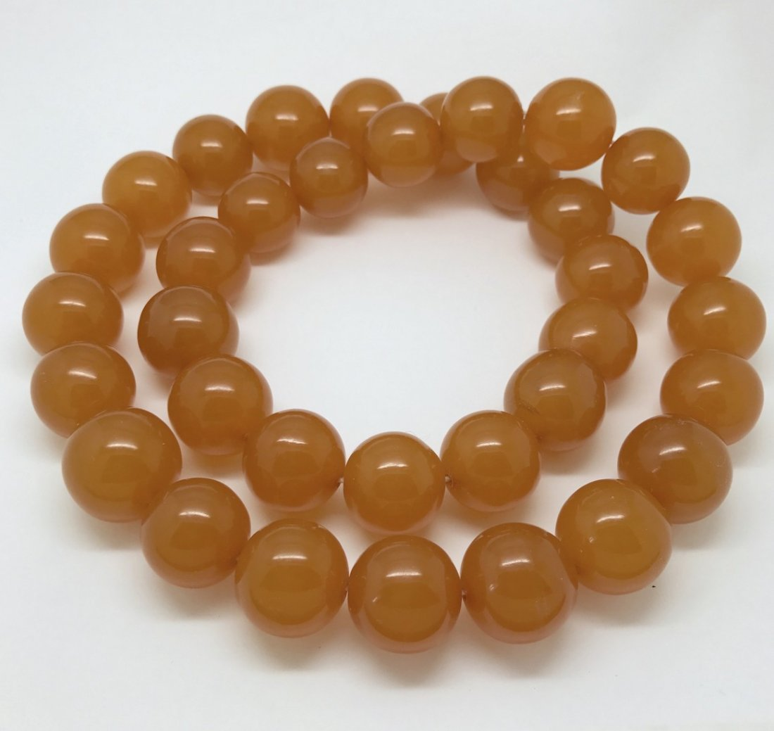 Old large art deco Baltic amber necklace beads - 6