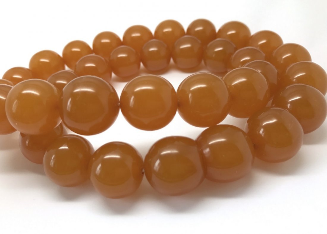 Old large art deco Baltic amber necklace beads - 7