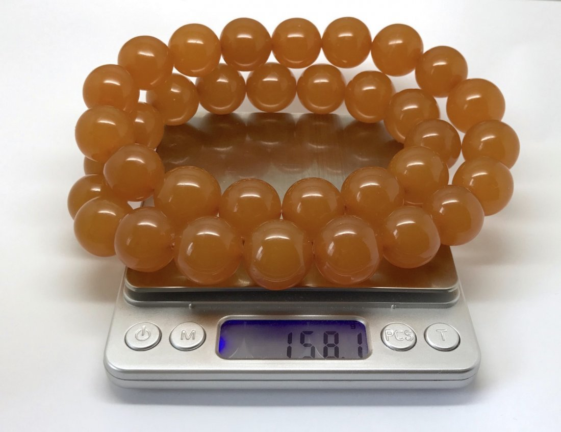 Old large art deco Baltic amber necklace beads - 8