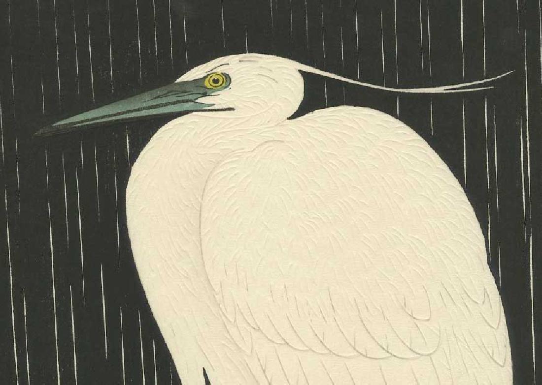 Gakusui Ide Woodblock Heron in the Rain - 2