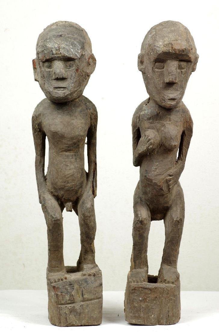 Old Ancestor Figure Pair West Timor Indonesia