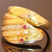 Tri-Color 18K Gold Diamond Ruby Snake Ring, c1975