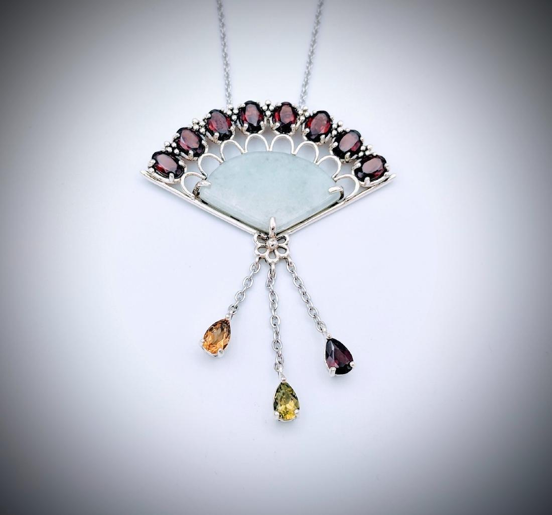 Sterling Silver Jade Garnet Citrine Peridot Necklace