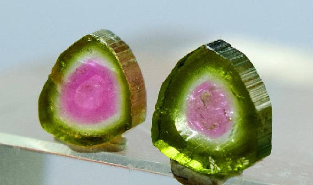 3.95 ct Perfectly Shaped Watermelon Tourmaline Slices - 3