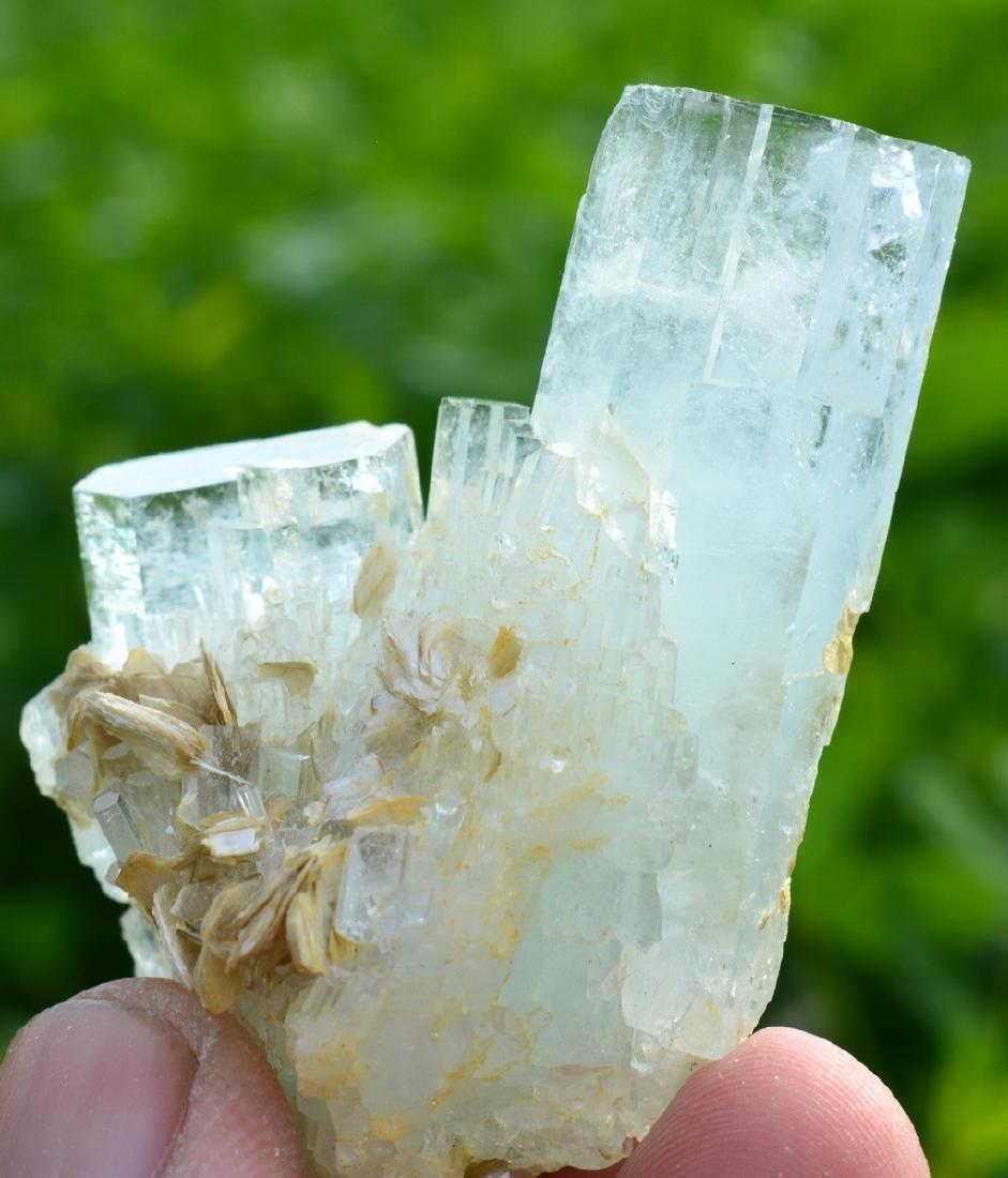 Terminated Aquamarine Crystals Mica