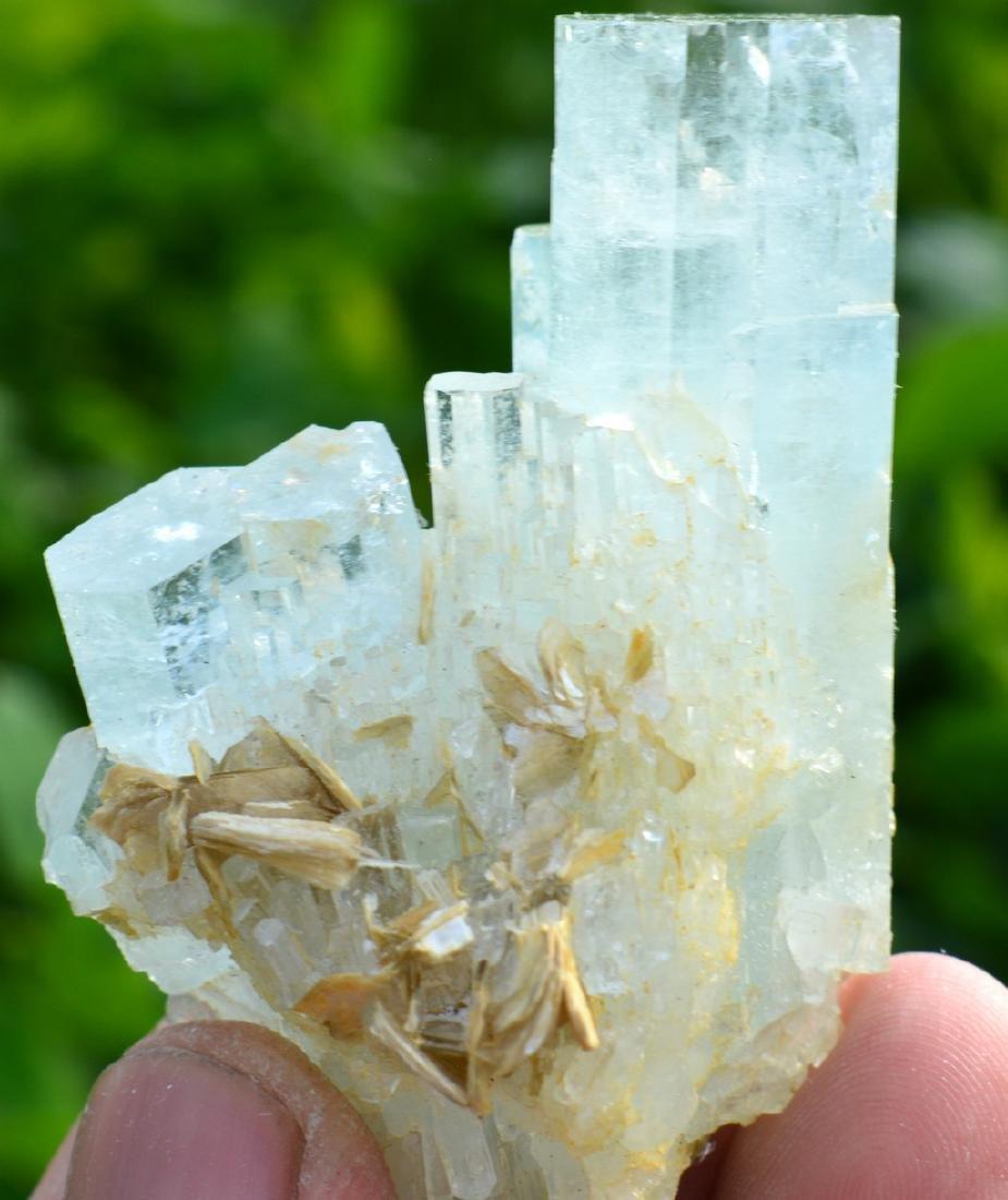 Terminated Aquamarine Crystals Mica - 2