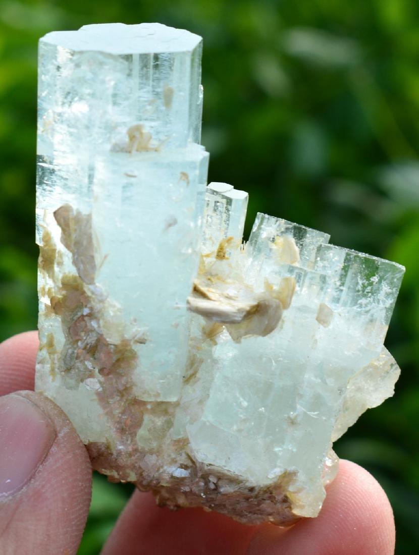 Terminated Aquamarine Crystals Mica - 4