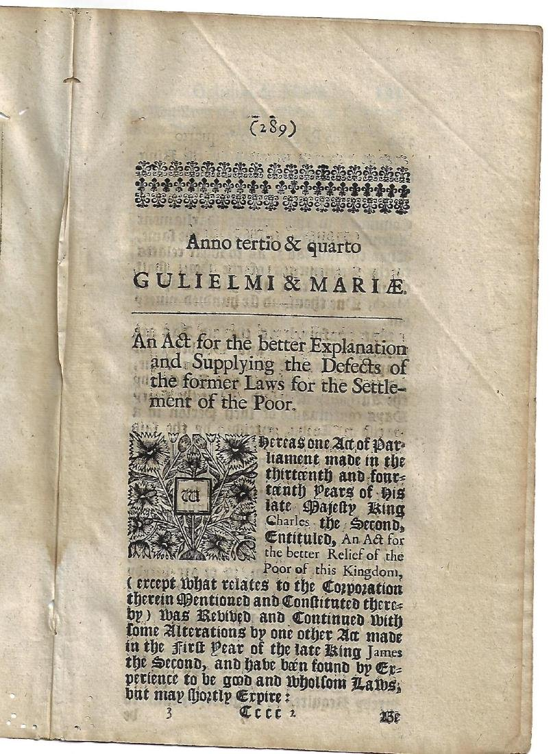 1691 English Act William and Mary Black Letter