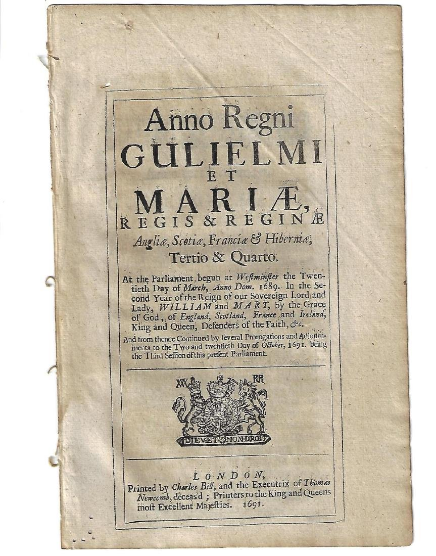 1691 English Act William and Mary Black Letter - 2