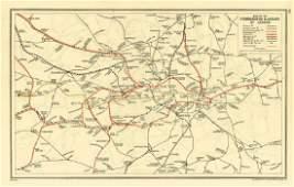 LONDON. Vintage Underground / Tube map 1933 old vintage