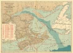 White: Antique Map of CANADA ATLANTIC COAST 1906