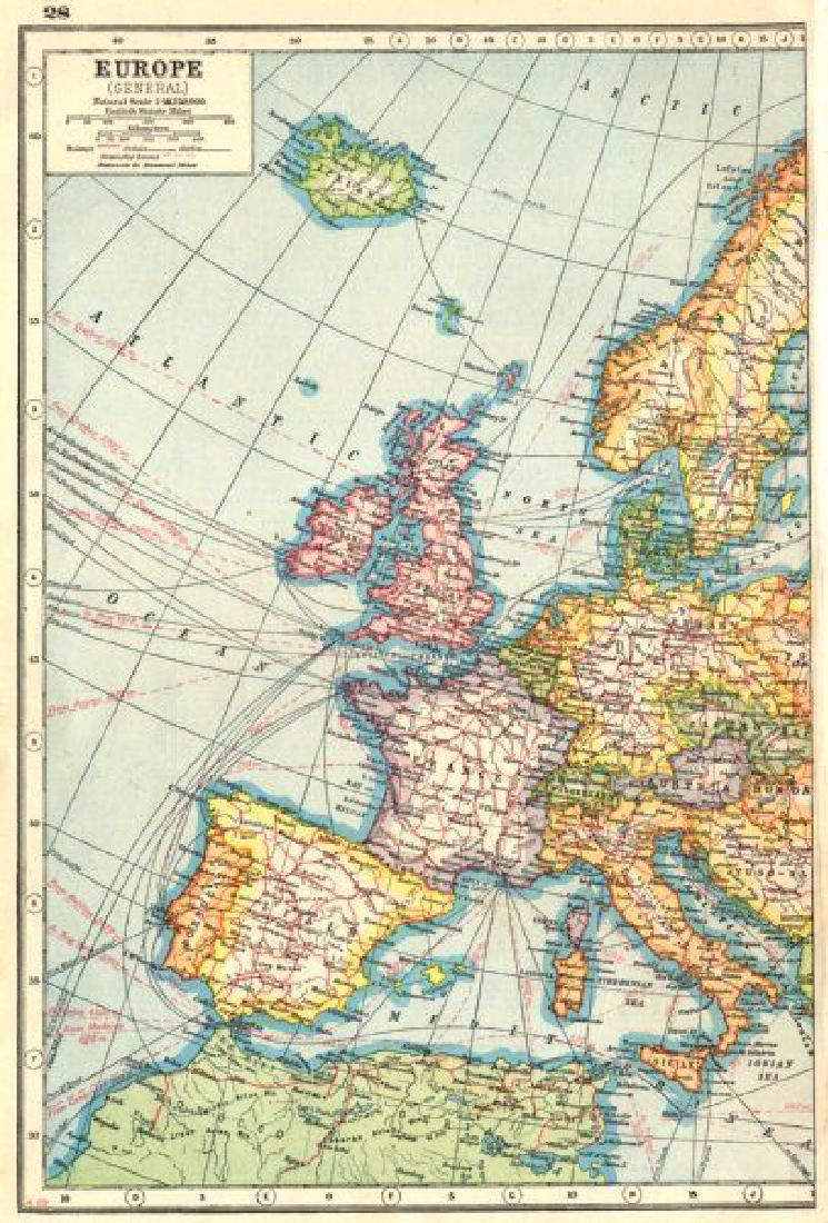 WESTERN EUROPE. Showing railways cables steamship