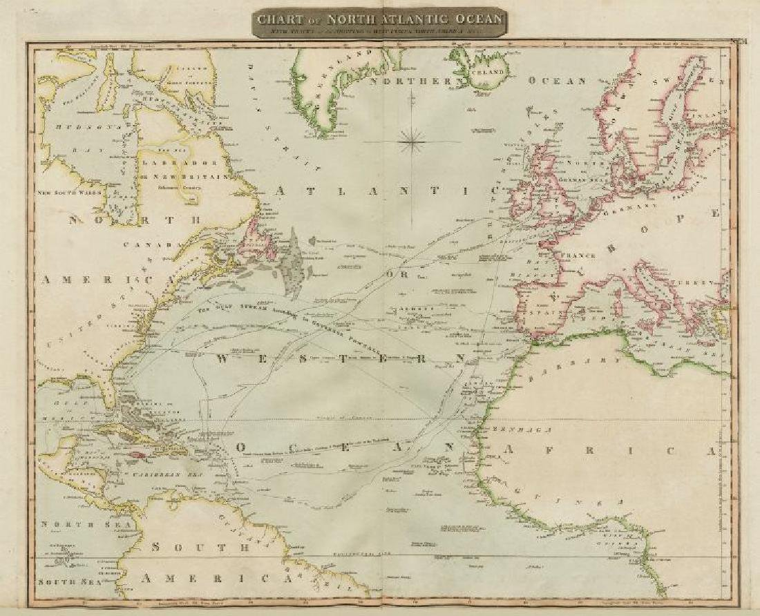 Thomson: Antique Map of North Atlantic Ocean, 1817