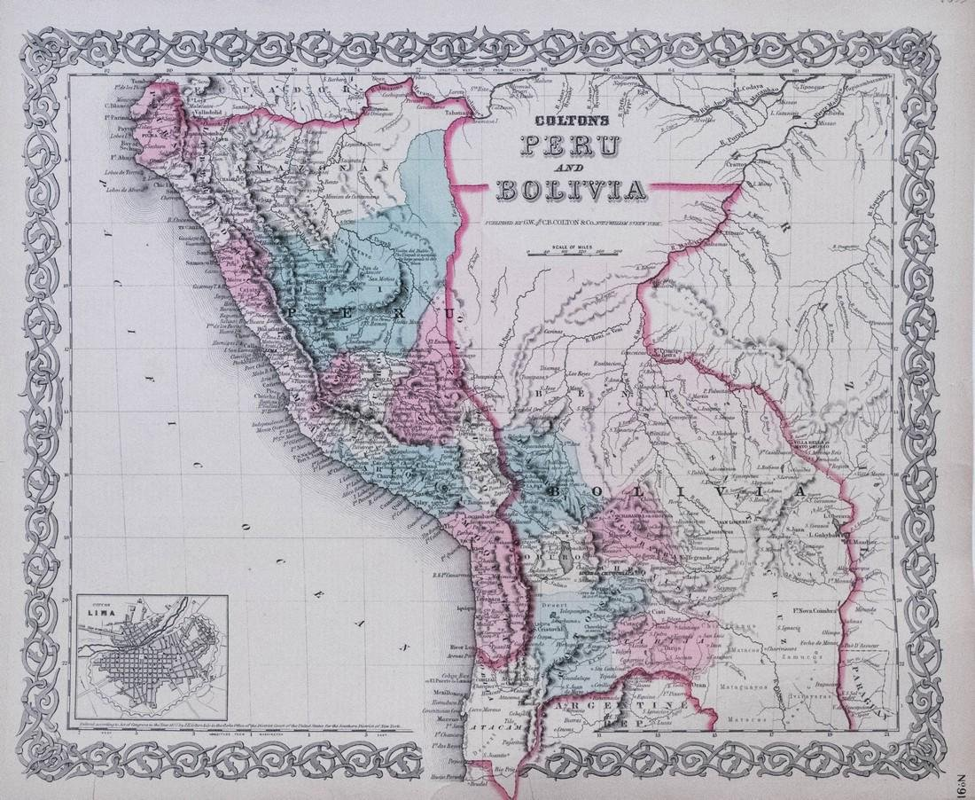 1855 Colton's Map of Peru and Bolivia -- Colton's Map
