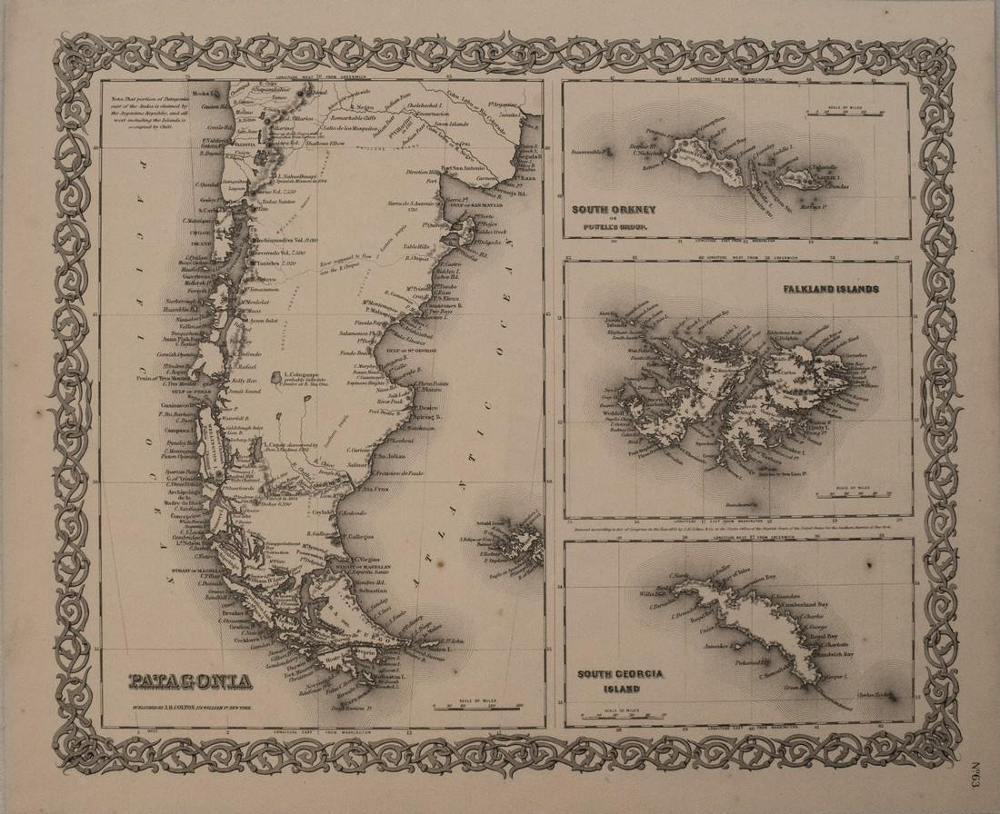 1856 Colton Map of Patagonia, Falklands, South Orkney