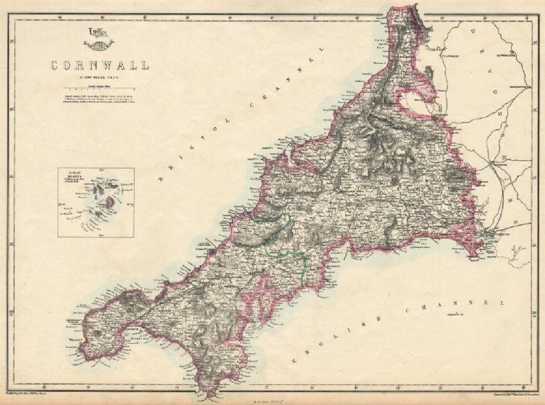 CORNWALL. Antique county map. Railways. Bodmin Moor.