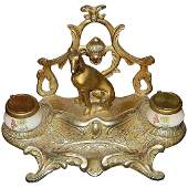 Brass Double Porcelain Inkwell with Seated Greyhound