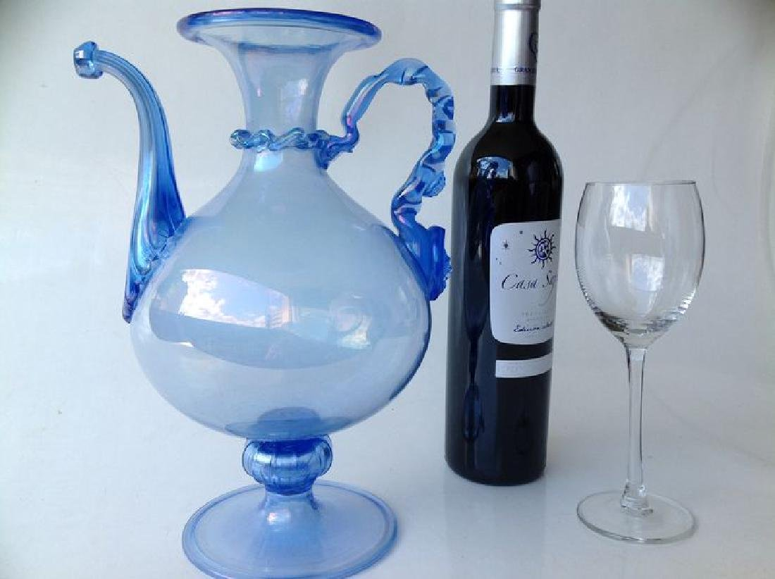 Venetian iridescent blue glass wine jug on foot, - 2