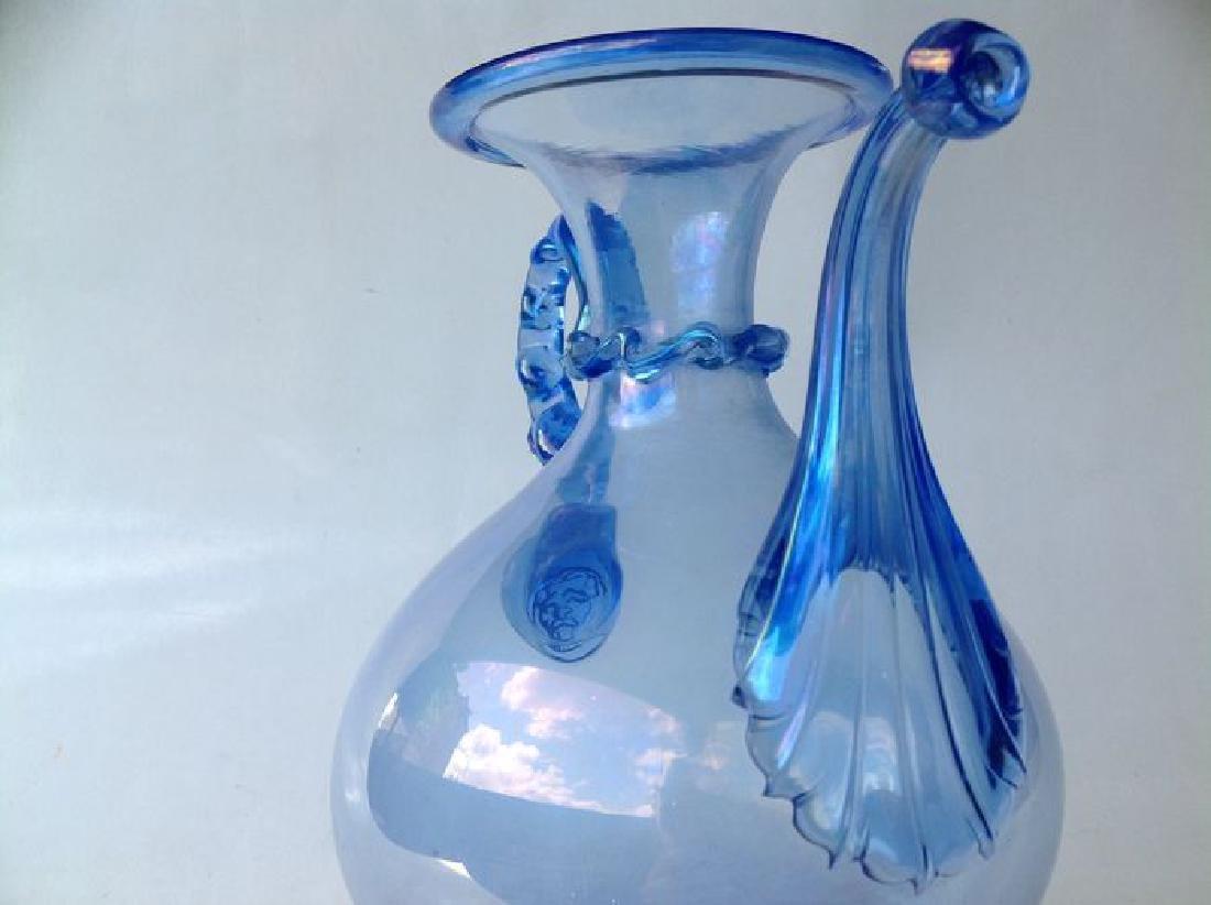 Venetian iridescent blue glass wine jug on foot, - 3