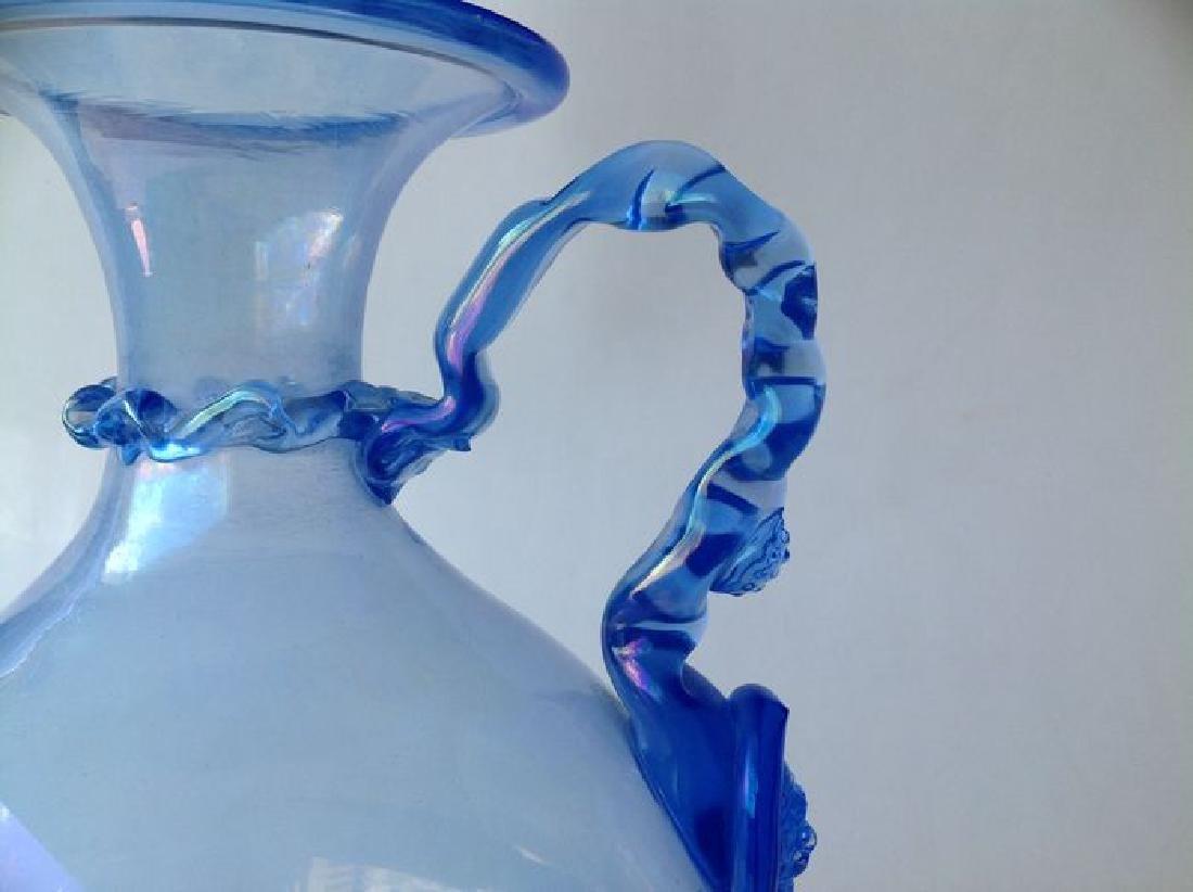 Venetian iridescent blue glass wine jug on foot, - 4