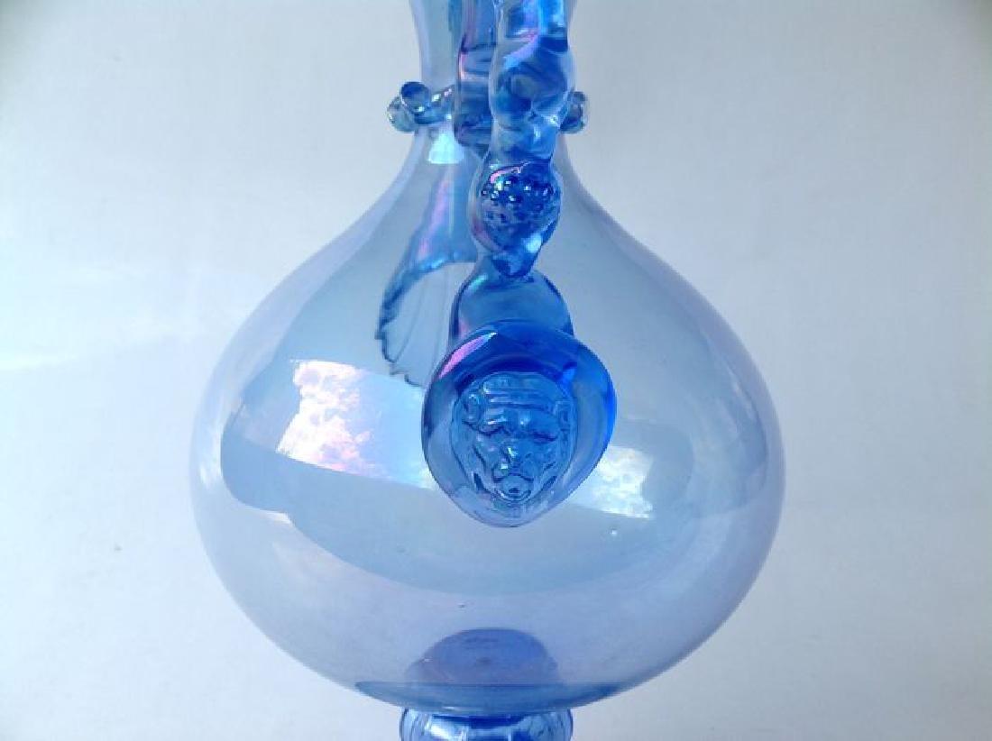 Venetian iridescent blue glass wine jug on foot, - 6